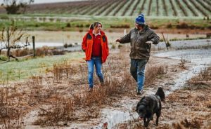 karel-williams-walks-in-muddy-paddock-with-client-rob-quenby-and-dog